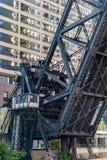 Ponte della ferrovia della via di Kinzie, Chicago immagini stock