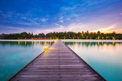 Ponte della località di soggiorno delle Maldive Bello paesaggio con le palme e la laguna blu Immagine Stock Libera da Diritti