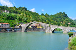Ponte della Maddalena in Borgo a Mozzano - Italy. Ponte della Maddalena, also known as the devil's bridge in the province of Lucca in Tuscany Royalty Free Stock Image