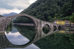 Ponte della Maddalena. Bridge of Mary Magdalene, Province of Lucca in Toscani, Italy stock images
