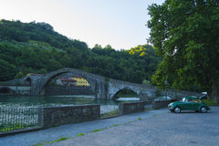 Ponte della Maddalena. Ponte delle Maddalena is a medieval bridge in Borgo a Mozzano comune near the Lucca, Italy. In 60-80 years it celebrates 1000 years Royalty Free Stock Image