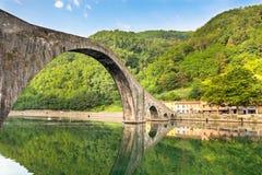 Ponte Della Maddalena, Italy. Maddalena Bridge at Bagni di Lucca, Tuscany, Italy. Also known as the Devil's Bridge Stock Image