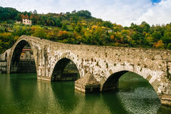 Ponte della Maddalena in Italy. Bridge of Mary Magdalene near Borgo a Mozzano Lucca, Italy royalty free stock photo