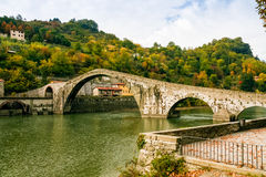 Ponte della Maddalena in Italy. Bridge of Mary Magdalene near Borgo a Mozzano Lucca, Italy stock image