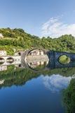 Ponte della Maddalena (Lucca, Tuscany). The old bridge known as Ponte della Maddalena, near Borgo a Mozzano (Lucca, Tuscany, Italy), on the Serchio river Royalty Free Stock Images