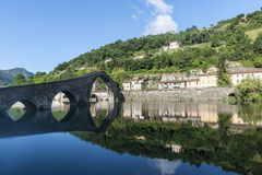 Ponte della Maddalena (Lucca, Tuscany). The old bridge known as Ponte della Maddalena, near Borgo a Mozzano (Lucca, Tuscany, Italy), on the Serchio river Stock Photography