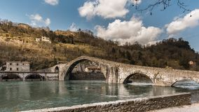 Ponte-della Maddalena nannte auch ` ` Del Diavolo Stockbild