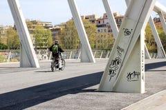 Ponte della Musica,一座现代白色钢桥梁在心脏  库存照片