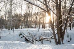 Ponte della neve di inverno Fotografia Stock Libera da Diritti