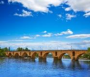 Ponte della pietra di Zamora Puente de Piedra su Duero Immagine Stock