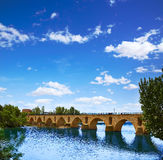 Ponte della pietra di Zamora Puente de Piedra su Duero Fotografia Stock