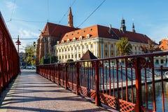 Ponte della sabbia sopra il fiume di Odra, Wroclaw fotografia stock