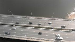Ponte della strada, metraggio aereo da un elicottero stock footage