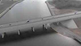 Ponte della strada, metraggio aereo da un elicottero archivi video