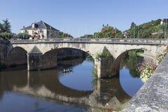 Ponte della strada sopra il fiume Vézère a Montignac Immagine Stock Libera da Diritti