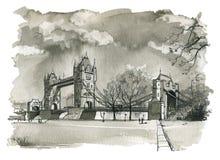 Ponte della torre, illustrazione di Londra Fotografia Stock