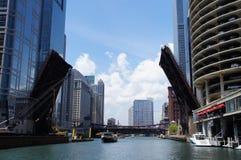 Ponte della via di Dearborn, Chicago Immagine Stock