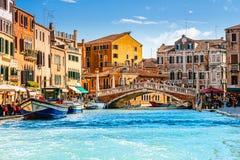 Ponte delle Guglie (尖顶桥梁)在威尼斯,意大利 免版税图库摄影