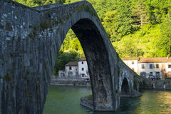 Ponte delle Maddalena. Ancient bridge in Borgo a Mozzano Stock Photo