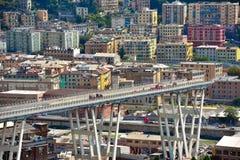 Ponte derrumbado Morandi Génova Italia Fotografía de archivo
