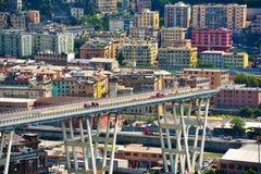 Ponte derrumbado Morandi Génova Italia Fotos de archivo