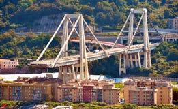 Ponte derrumbado Morandi Génova Italia Fotografía de archivo libre de regalías