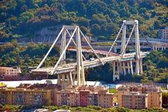 Ponte derrumbado Morandi Génova Italia Fotos de archivo libres de regalías