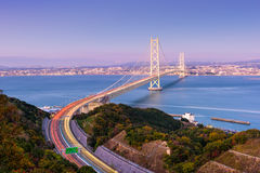 Ponte di Akashi Kaikyo a Kobe, Giappone immagini stock