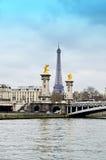 Ponte di Alexander a Parigi, torre Eiffel fotografia stock libera da diritti