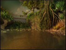 Ponte di attaccatura sopra un fiume fangoso Fotografie Stock