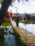 Ponte di bambù attraverso il lago fotografia stock
