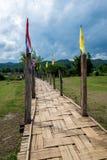 Ponte di bambù di legno sopra il campo di agricoltura dell'agricoltore per la passeggiata attraverso Immagini Stock