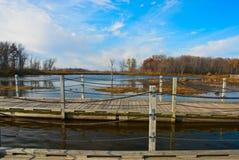 Ponte di barche sulla palude di Horicon, Wisconsin Fotografia Stock