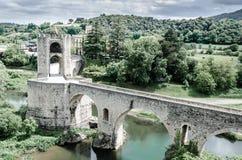 Ponte di Besalu, Gerona, Spagna Fotografia Stock