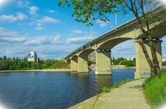 Ponte di Borodino in Kamyšin, regione di Volgograd fotografia stock libera da diritti