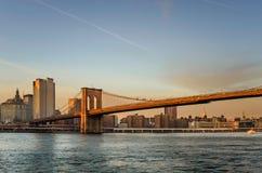 Ponte di Brooklyn al tramonto Immagine Stock Libera da Diritti