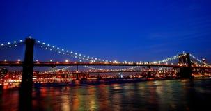 Ponte di Brooklyn alla notte New York Fotografia Stock