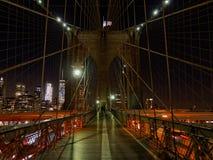 Ponte di Brooklyn alla notte New York City Fotografia Stock Libera da Diritti