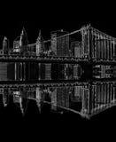 Ponte di Brooklyn alla notte, New York, S.U.A. Fotografie Stock Libere da Diritti