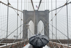 Ponte di Brooklyn, bufera di neve - New York Fotografie Stock Libere da Diritti