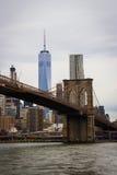 Ponte di Brooklyn con Freedom Tower Immagini Stock Libere da Diritti