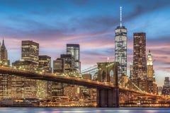 Ponte di Brooklyn con il tramonto Immagine Stock Libera da Diritti