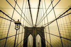 Ponte di Brooklyn d'annata New York Fotografia Stock