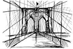 Ponte di Brooklyn disegnato a mano - vettore immagini stock