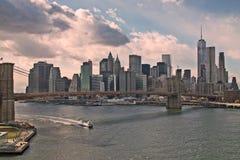 Ponte di Brooklyn e Manhattan Immagini Stock