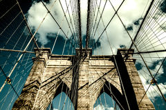 Ponte di Brooklyn, Manhattan New York Concetto vivente urbano Fotografie Stock