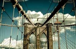 Ponte di Brooklyn, Manhattan New York Concetto vivente urbano Fotografia Stock Libera da Diritti