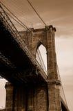 Ponte di Brooklyn nella seppia Fotografia Stock Libera da Diritti