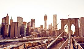 Ponte di Brooklyn a New York Fotografie Stock Libere da Diritti