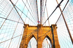 Ponte di Brooklyn New York City con panorama di Brooklyn Fotografie Stock